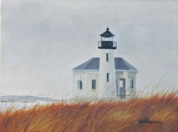Coast Line Painting - Co Quille River Lighthouse by Julie Peterson
