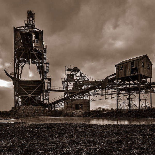Photograph - Coal Conveyor And Loader - Bw by Chris Bordeleau