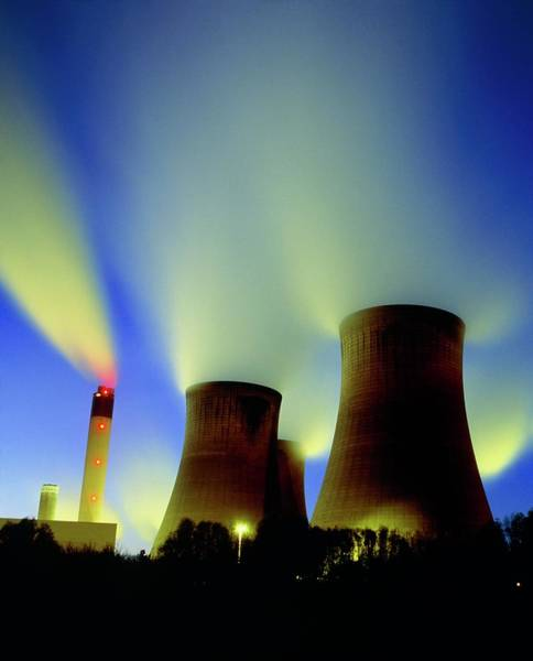 Coals Wall Art - Photograph - Coal-fired Power Station At Night by Martin Bond/science Photo Library