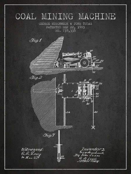 Coals Wall Art - Digital Art - Coal Mining Machine Patent From 1903- Charcoal by Aged Pixel