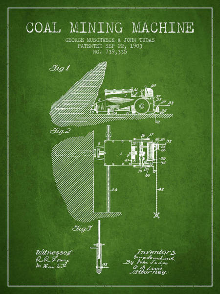 Coals Wall Art - Digital Art - Coal Mining Machine Patent From 1903- Green by Aged Pixel