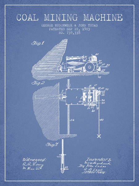 Coals Wall Art - Digital Art - Coal Mining Machine Patent From 1903- Light Blue by Aged Pixel