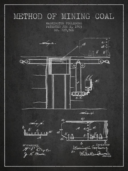 Coals Wall Art - Digital Art - Coal Mining Patent From 1903- Charcoal by Aged Pixel