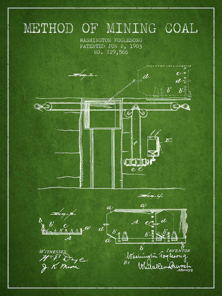 Coals Wall Art - Digital Art - Coal Mining Patent From 1903- Green by Aged Pixel
