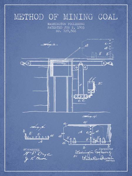Coals Wall Art - Digital Art - Coal Mining Patent From 1903- Light Blue by Aged Pixel
