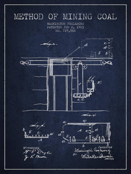 Coals Wall Art - Digital Art - Coal Mining Patent From 1903- Navy Blue by Aged Pixel