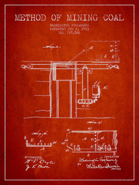 Coals Wall Art - Digital Art - Coal Mining Patent From 1903- Red by Aged Pixel
