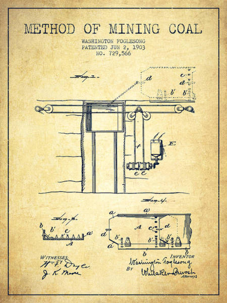 Coals Wall Art - Digital Art - Coal Mining Patent From 1903- Vintage by Aged Pixel