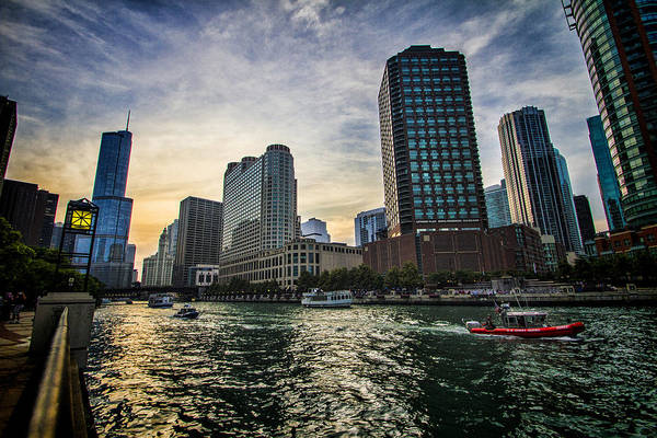 Photograph - Coast Guard Boat Heading Out On Chicago River by Sven Brogren