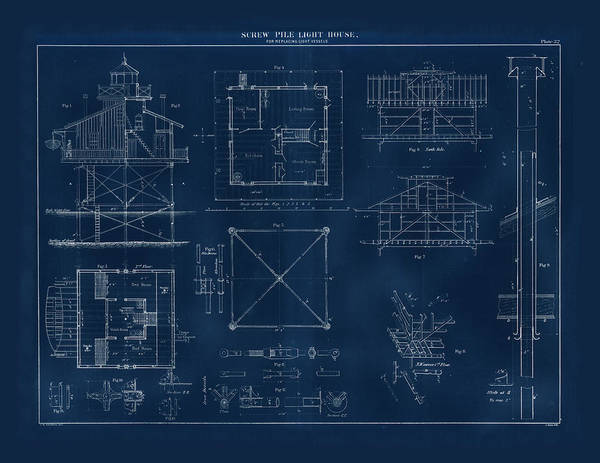 Screw Pile Wall Art - Drawing - Coast Guard Drawing Of A Screw Pile Lighthouse by Jerry McElroy