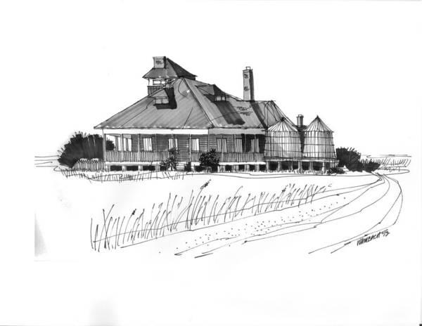 Drawing - Coast Guard Station 1 Ocracoke 1970s by Richard Wambach