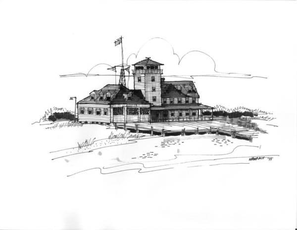 Drawing - Coast Guard Station 2 Ocracoke 1970s by Richard Wambach