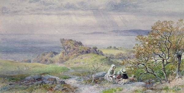 Blue Bonnets Painting - Coast Scene With Children In The Foreground, 19th Century by William Collins