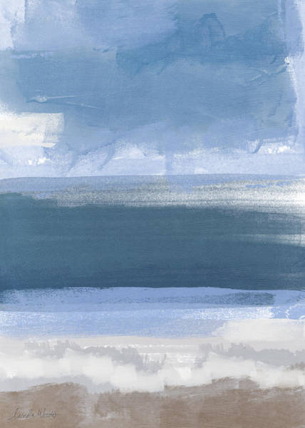 Grey Skies Wall Art - Painting - Coastal- Abstract Landscape Painting by Linda Woods
