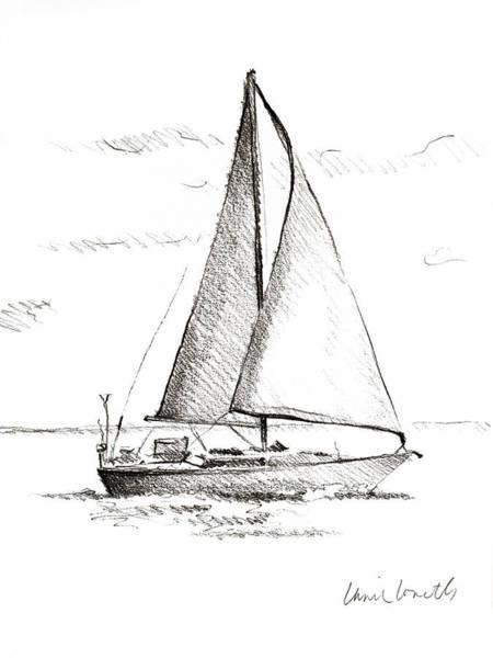 Wall Art - Drawing - Coastal Boat Sketch I by Lanie Loreth