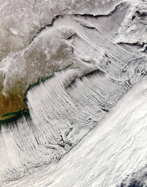 Cumulus Photograph - Coastal Cloud Streets by Nasa/gsfc/science Photo Library