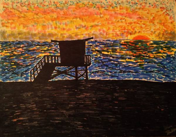 South Beach Drawing - Coastal Contemplation by Glen Hunkins