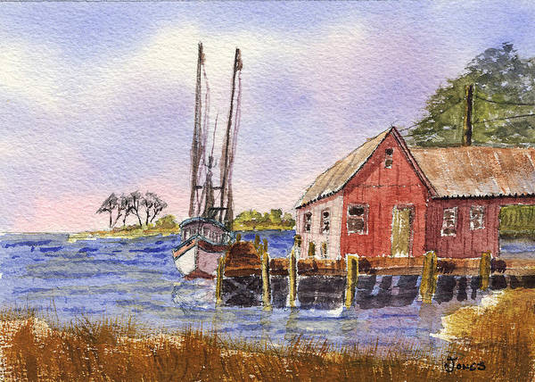 Painting - Shrimp Boat - Boat House - Coastal Dock by Barry Jones