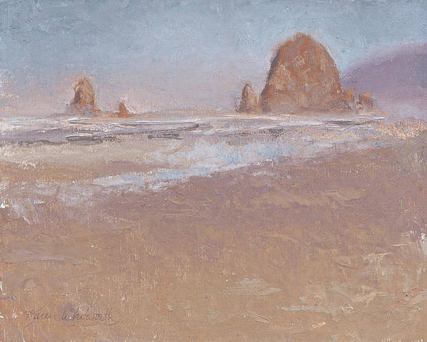 Carnation Painting - Coastal Escape  Cannon Beach Oregon And Haystack Rock  by Karen Whitworth