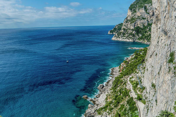 Coastal Line Of Via Krupp, Capri City Art Print