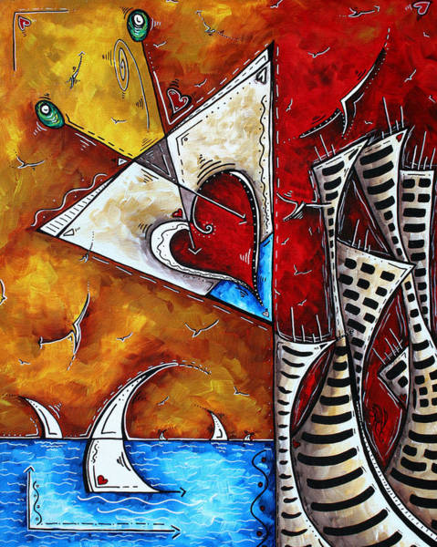 Wall Art - Painting - Coastal Martini Cityscape Contemporary Art Original Painting Heart Of A Martini By Madart by Megan Duncanson