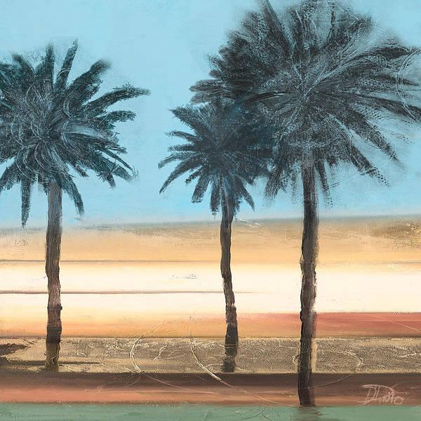 Coastal Digital Art - Coastal Palms On Aqua by Patricia Pinto