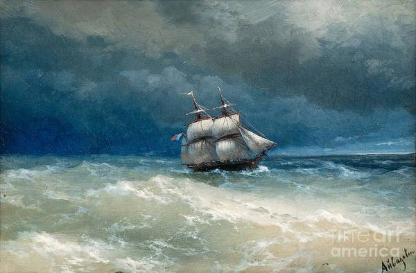 Wall Art - Painting - Coastal Scene With Stormy Waters by Viktor Birkus