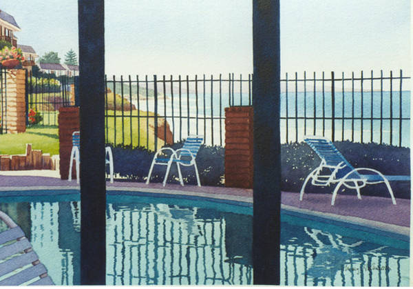 Swimming Pool Wall Art - Painting - Coastal Swimming Pool by Mary Helmreich