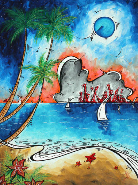 Wall Art - Painting - Coastal Tropical Beach Art Contemporary Painting Whimsical Design Tropical Vacation By Madart by Megan Duncanson