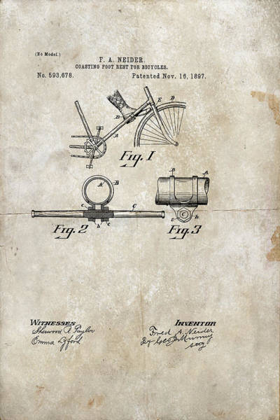 Digital Art - Coasting Foot Rest For Bicycles Patent 1897 by Paulette B Wright