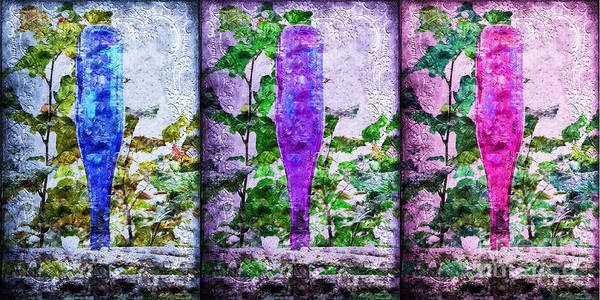 Photograph - Cobalt Blue Purple And Magenta Bottles Collage by Andee Design