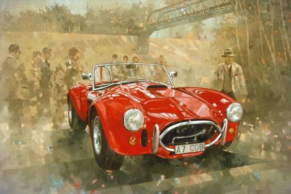 Racer Painting - Cobra At Brooklands by Peter Miller