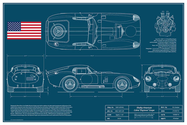 Collector Digital Art - Cobra Daytona Coupe Blueplanprint by Douglas Switzer