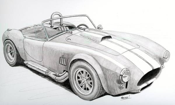 Cobra Drawing - Ac Ford Cobra With 427  by Rick Bennett