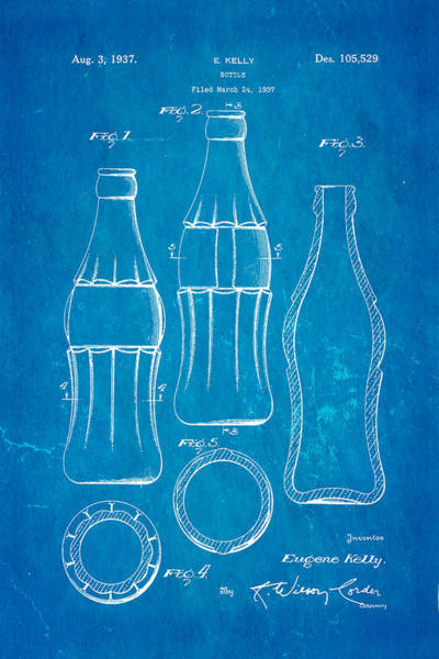 Inventor Photograph - Coca Cola Bottle Patent Art 1937 Blueprint by Ian Monk
