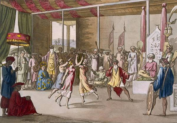 Traditional Dances Drawing - Cochin Chinese Drama, From Costume by Angelo Monticelli