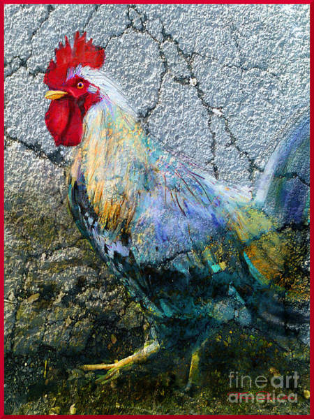 Painting - Cock 1 Red Framed by Theo Danella
