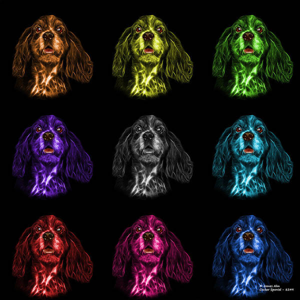 Mixed Media - Cocker Spaniel Pop Art - 8249 - Bb - M by James Ahn