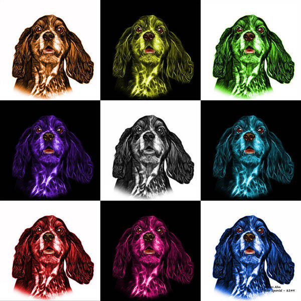 Mixed Media - Cocker Spaniel Pop Art - 8249 - V2 - M by James Ahn
