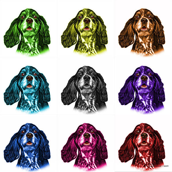 Mixed Media - Cocker Spaniel Pop Art - 8249 - Wb - M by James Ahn