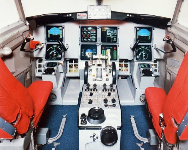 Wall Art - Photograph - Cockpit Of Tsrv Transport Research Plane by Nasa/science Photo Library.