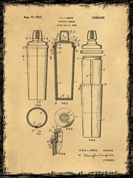 Drink Coca Cola Photograph - Cocktail Shaker Patent 1937 by Mark Rogan