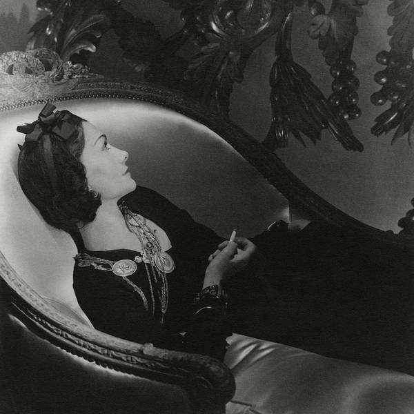 Headband Photograph - Coco Chanel On A Chaise Longue by Horst P. Horst