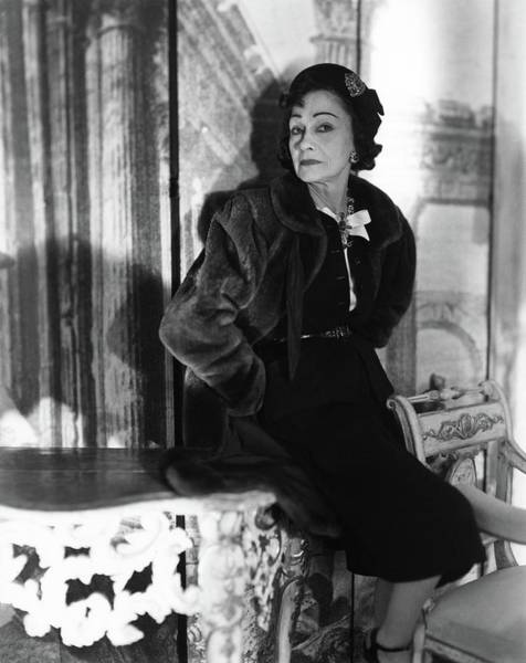 Furniture Photograph - Coco Chanel Wearing A Fur Coat by Horst P. Horst