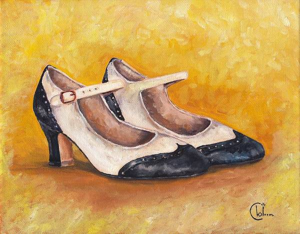 Painting - Pair Of 1920s Flappers Heels Mary Janes by Cecely Bloom