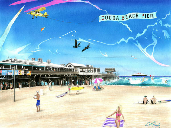 Steve Harris Wall Art - Painting - Cocoa Beach Pier by Steve Harris
