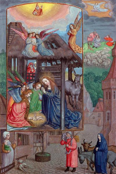 Infant Photograph - Codex Ser Nov 2844 Birth Of Christ, From The Rothschild Prayer Book Vellum by Flemish School
