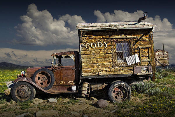 Clunker Wall Art - Photograph - Cody Wyoming Truck Signpost by Randall Nyhof