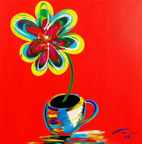Interior Wall Art - Painting - Coffee And A Flower by Mac Worthington