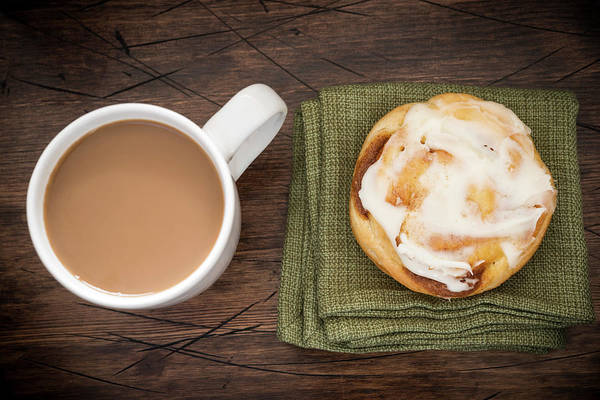 Cinnamon Buns Photograph - Coffee And Cinnamon Roll by J Shepherd